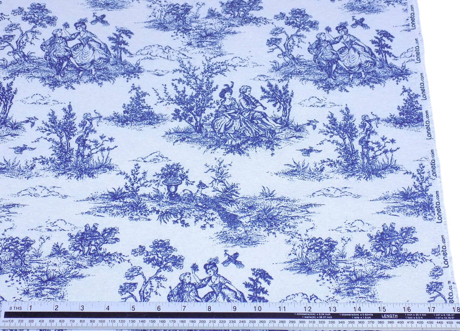 vintage french lovers scenes toile de jouy navy beige cotton high quality fabric material sold. Black Bedroom Furniture Sets. Home Design Ideas