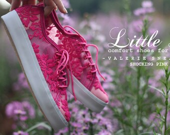 Shocking Pink Lace Sneaker - Casual Shoes with five Colors Custom