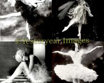 Vintage BALLERINA PHOTOS - Printable Digital Images - Collage Sheets - Instant Download - 3 PNG Files 4x4. 2x2. 1x1
