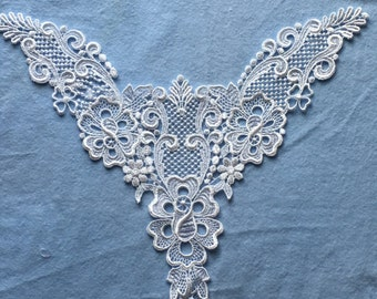 Vintage White Venise Yoke Applique for Crafting Sewing