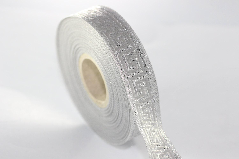 22 Mm Silver Jacquard Ribbons 0 86 Inches Greek Key
