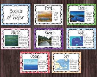 Bodies of Water Posters - Set of 8 - science posters, classroom posters, elementary education, classroom, teacher - (Instant Download Only)