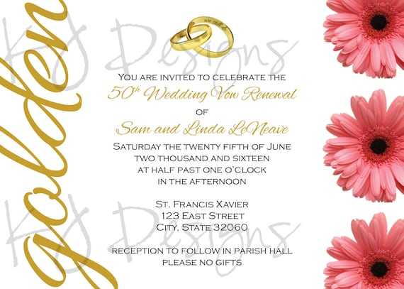 50th Wedding Vow Renewal Invitations: 50th Vow Renewal Invitation 5x7 Gold Theme By