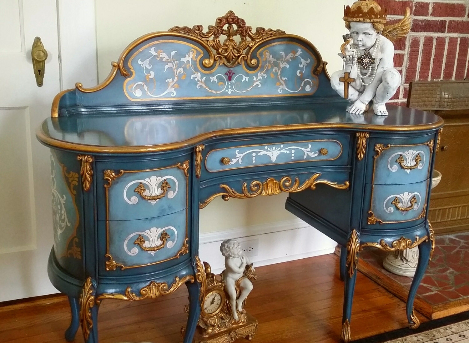 amazing hand painted antique french baroque desk art furniture. Black Bedroom Furniture Sets. Home Design Ideas