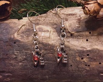 SALE-Drop Earrings-Silver Colored-Love Charm-Red Bead