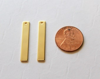 Gold Bar Pendant 2 pcs / Vertical Bar Stamping Blanks / Vertical Gold Bar / Wholesale Jewelry Supplies Supply / Gold Bar Charm / USA SELLER