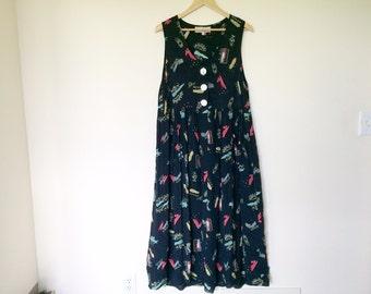 Vintage dress with shoe pattern
