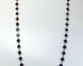 "Raindrops Necklace - Jet/Rhodium 36"" Swarovski crystal"