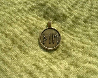 "Viking Runes Pendant. Futhark Runescript ""Witchcraft"". Scandinavian magic Runes amulet."
