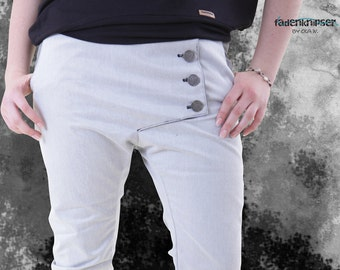 Unique jeans with long placket and deep step in the form of fadenknipser