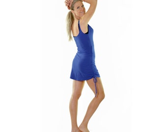 Blue cowl neck long singlet top with rouched sides & adjustable length which covers booty made with natural fabric for women's gym top