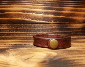 Brown Hand Made and Stamped Leather Bracelet
