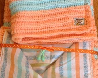 Stripe Orange and Green Baby Blanket