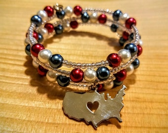 I Love the USA bracelet, USA Jewelry, Patriotic Jewelry, Merica, Pride Bracelet,