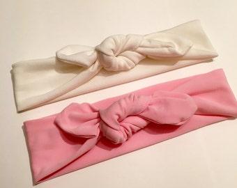Off-White & Pink Top Knot Headband // Baby Headband // Toddler Headband