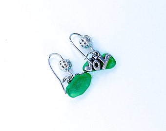 Joy! Earrings with sea glass.