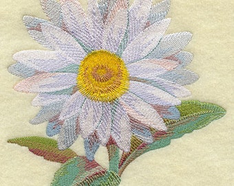 Daisy in watercolor Flower Embroidered on a Flour Sack Towel