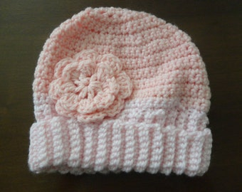 Pink and White Flower Knit Child Hat
