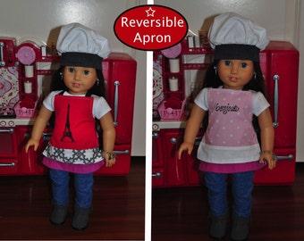 Reversible 18 inch Doll (American Girl and Our Generation) Apron and Chef Hat Set (C-9)