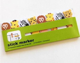 Animal Sticky Notes / Scrapbooking / Cute Sticky Notes / Animal Stationery / Stick Marker / Kawaii Sticky Notes / Zoo Animals / Stationery