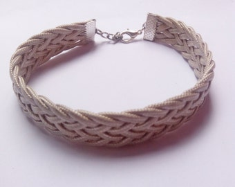 Classic Design..Braided Silver Cord Bracelet