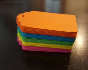 Set of 100 Bright neon gift tags!