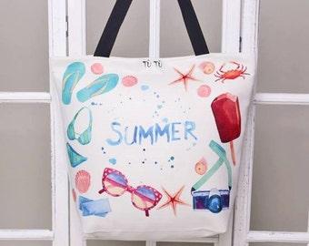 Handmade digital printed beach bag - watercolour pattern print - stylish beach bag SUMMER