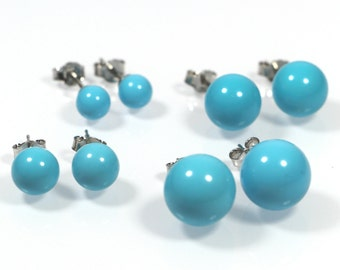 Tourquoise Post Earrings , 6mm, 8mm, 10mm or 12mm, Blue Tourquoise Bead Earrings, Made in Italy Sterling Silver 925 Earrings, Stud Earrings