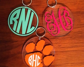 "3"" clear monogrammed keychain"