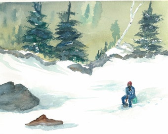 Ice fishing in Vermont, print made from my original water color painting.