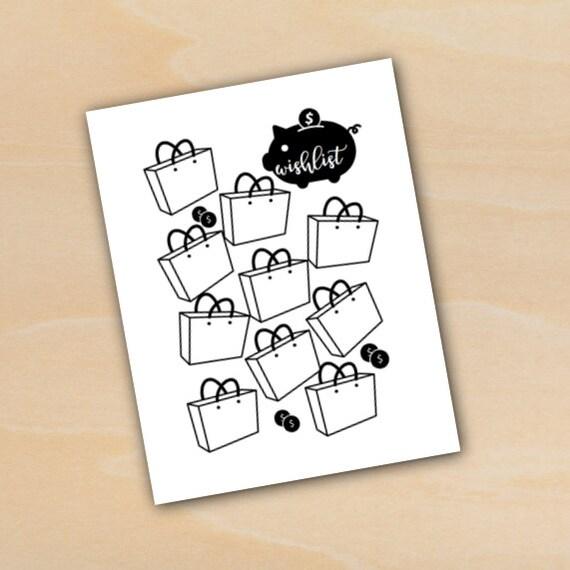 Shopping Wishlist Piggy Bank Tracking Sheet Bullet Journal Planner ...