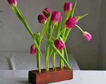 Holzvase,Vase mit 4 Reagenzgläsern, Blumenvase