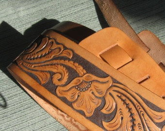 Hand Carved Leather Guitar Strap