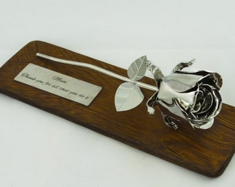 11th Wedding Anniversary Gift Steel Rose Stainless Metal Flower