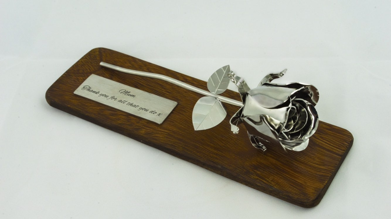 Traditional 25th Wedding Anniversary Gifts: 11th Wedding Anniversary Gift Steel Rose Stainless Metal