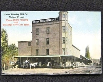 Real Photo Postcard Union Flouring Mill Union Oregon