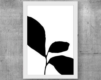 Black Botanical Print, Black & White Art, Modern Minimalist Wall Art, Giclee Print, Scandinavian Print, Abstract Botanical, Abstract Art