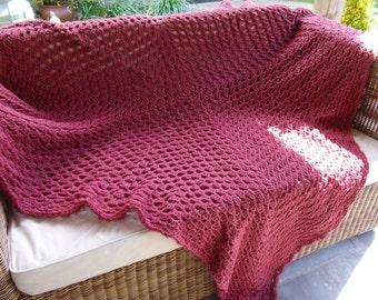 Pomegranate Red Hand Crochet Merino Wool Blanket / Throw