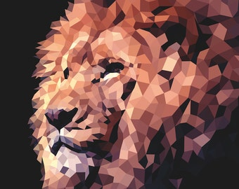 Art print / polygon / lion
