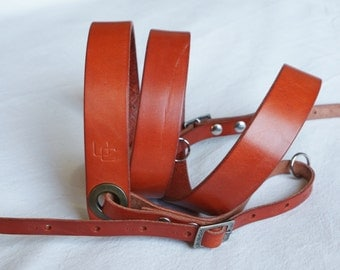 "handmade leather camera strap made in France Urban Cam ""The slasher orange"""