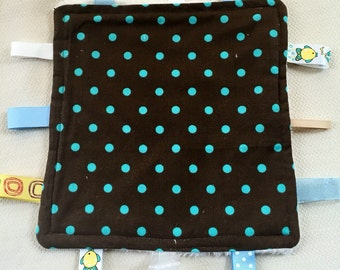 Tag Blanket, Brown And Aqua, Polka Dot