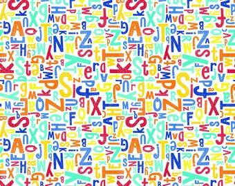 Crayola Multi Alphabet Riley Blake, white, knit, Colorfully Creative, cotton spandex, licensed, jersey 50% 4way stretch K5401-MULTI