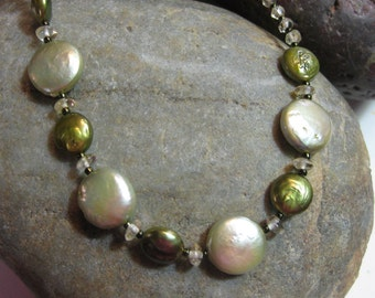 Green lustre coin pearls and citrine necklace