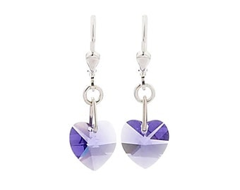 SWAROVSKI Mini Heart Sterling Silver Earrings in Tanzanite Lilac Purple