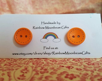Handmade Wooden Button Earrings, Stud Earrings, Orange buttons