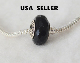 Authentic Pandora Fascinating Black Glass Bead Charm