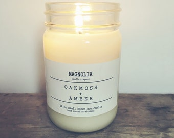 Oakmoss & Amber Scented Soy Candle