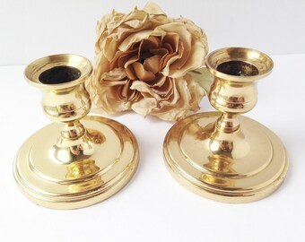 Brass Candle Holders / Candle Holders / Pair of Brass Candle Holders / Vintage Candle Holder / Wedding Decor / Set of Brass