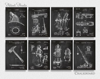 Firefighter Patents Set of 8 Prints, Firefighter Prints, Firefighter Posters, Firefighter Blueprints, Firefighter Art,  Firefighter