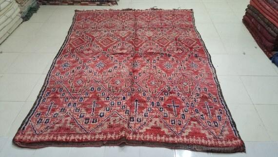 Gorgeous vintage moroccan beni mguild rug tapis berbère